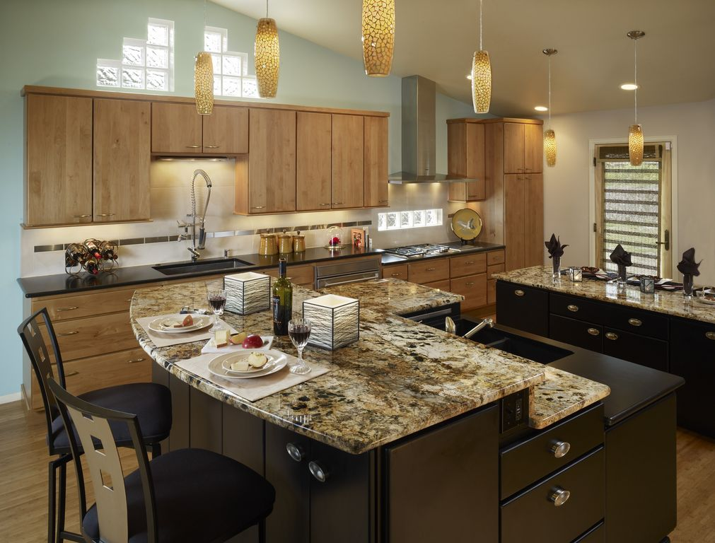 Modern Kitchen with orian Solid Surface Countertop in Deep Nocturne