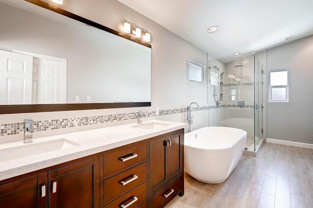 Contemporary Master Bathroom with Bathtub, Undermount sink, Shower, Wall Tiles, Inset cabinets, Handheld showerhead