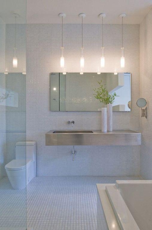 Contemporary Master Bathroom with Bathtub, Pendant light, Wall Tiles, frameless showerdoor, Undermount sink, Shower