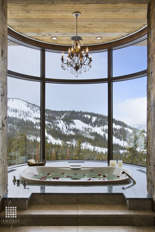 Contemporary Master Bathroom with White led can light kit, drop in bathtub, picture window, Spa retreat