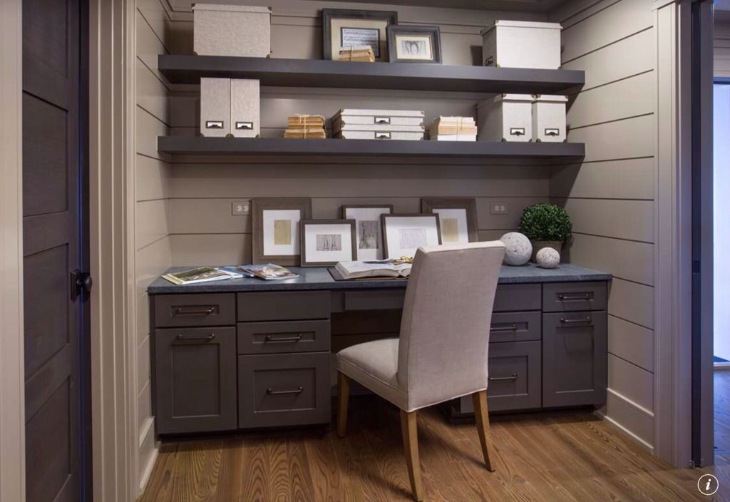 Traditional Home Office with Standard height, Paint 1, six panel door, Paint 2, Built-in bookshelf, Office nook