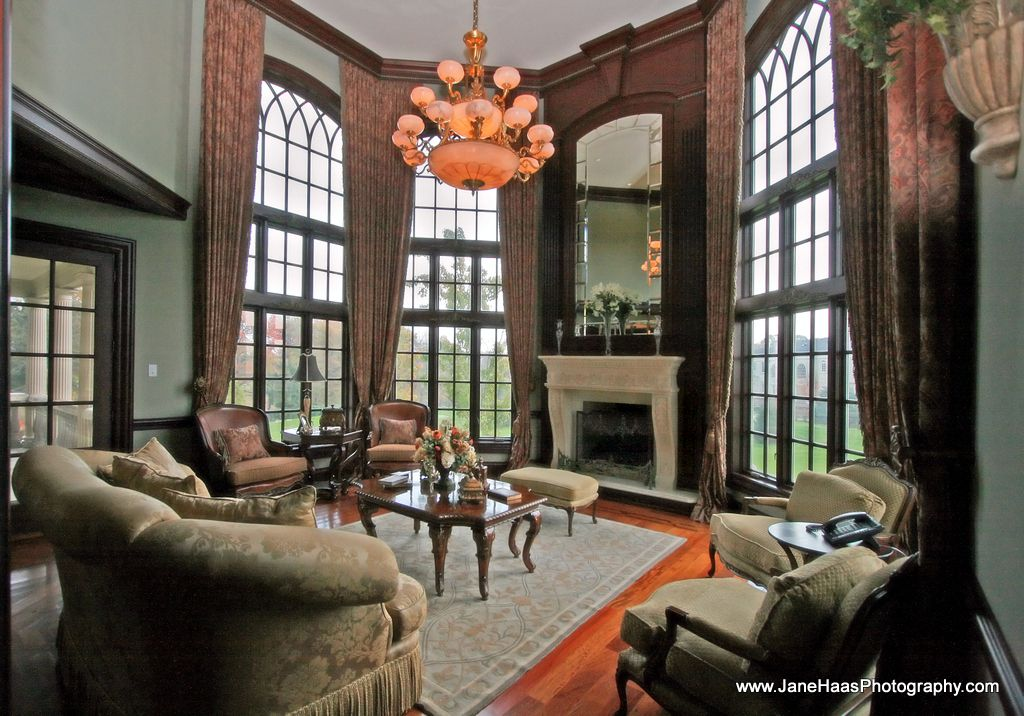 Cathedral/Arched, Cement, Chandelier, Crown molding, French, Hardwood, Traditional