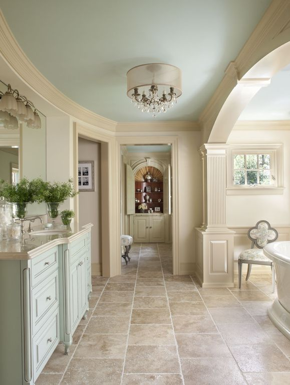 Traditional Master Bathroom with Framed Partial Panel, Casement, Crown molding, stone tile floors, Complex marble counters