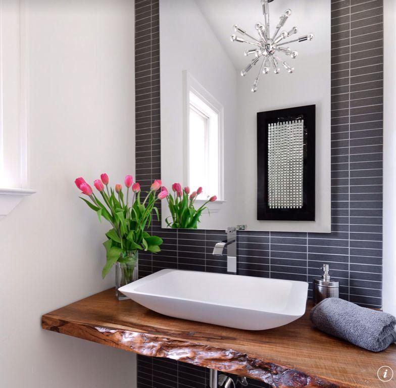 Contemporary Powder Room with Standard height, full backsplash, Powder room, flush light, Casement, Vessel sink