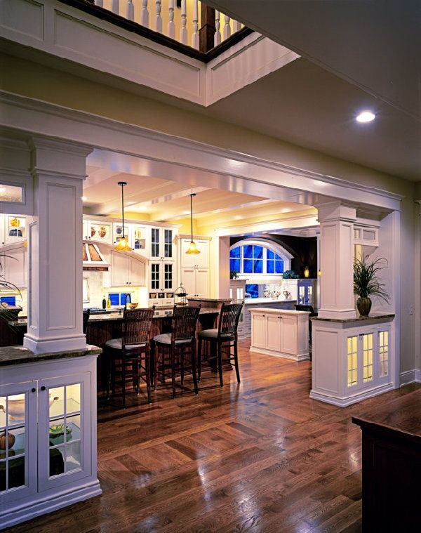 """Traditional Kitchen with Pendant light, Hardwood floors, American heritage liberty chestnut 26"""" high counter stool, U-shaped"""