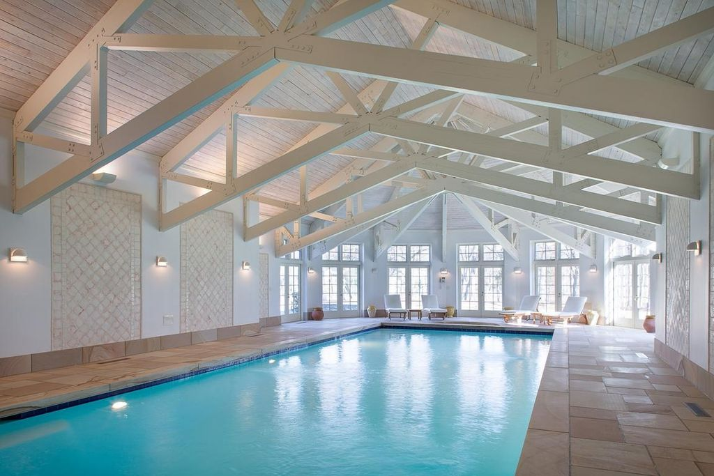 Contemporary Swimming Pool with Wall sconce, French doors, Casement, Exposed truss ceiling, Whitewashed wood plank ceiling