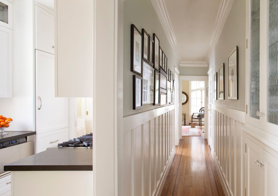 Traditional Hallway with Crown molding, French doors, Wainscotting, Standard height, specialty window, Hardwood floors