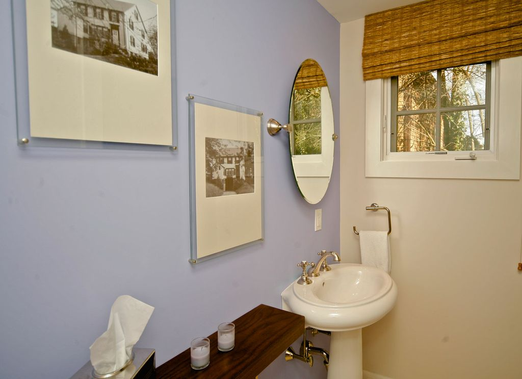 Contemporary Powder Room with Pedestal sink, Standard height, Powder room, Casement, Wood counters