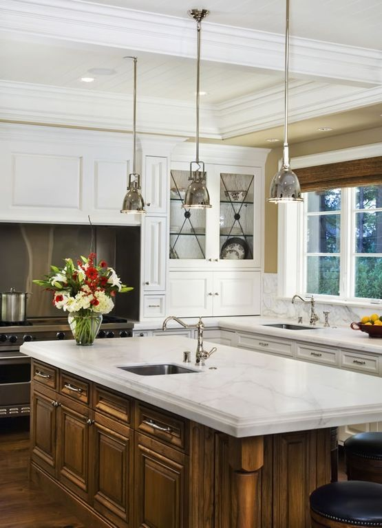 """Traditional Kitchen with Glass panel, Bromi Design - Essex 7-3/5"""" W 1 Light Industrial Pendant in Chrome, Multiple Sinks"""