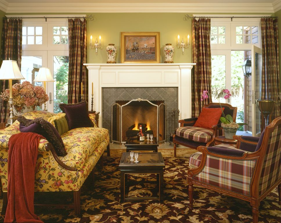 Traditional Living Room with Built-in bookshelf, French doors, stone fireplace, Carpet, Standard height, Fireplace