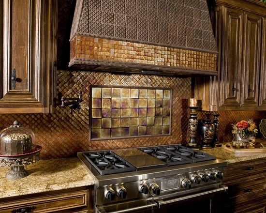 Mediterranean Kitchen with Daltile PYRAMID EG20 Field Tile, Glass tile mosaic, Custom hood, Raised panel, gas range