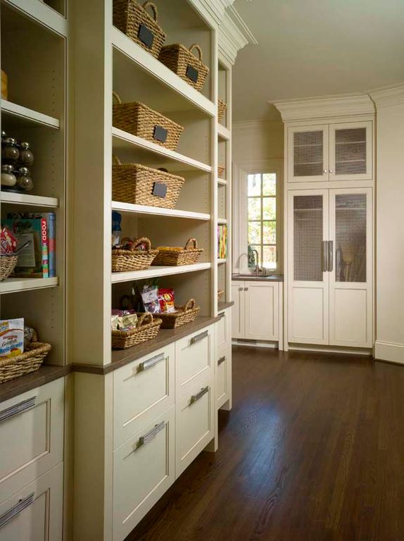 Contemporary Pantry with Inset panel cabinets, Target smith & hawken basket with chalkboard, Open shelving, Hardwood floors