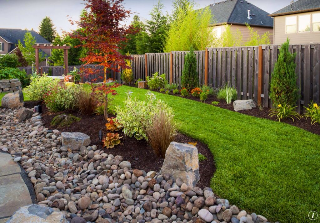 Traditional Landscape/Yard with Bloodgood Japanese Maple, Arboria Rosedale 7-ft. Cedar Pergola Arbor, Fence, Wood fence