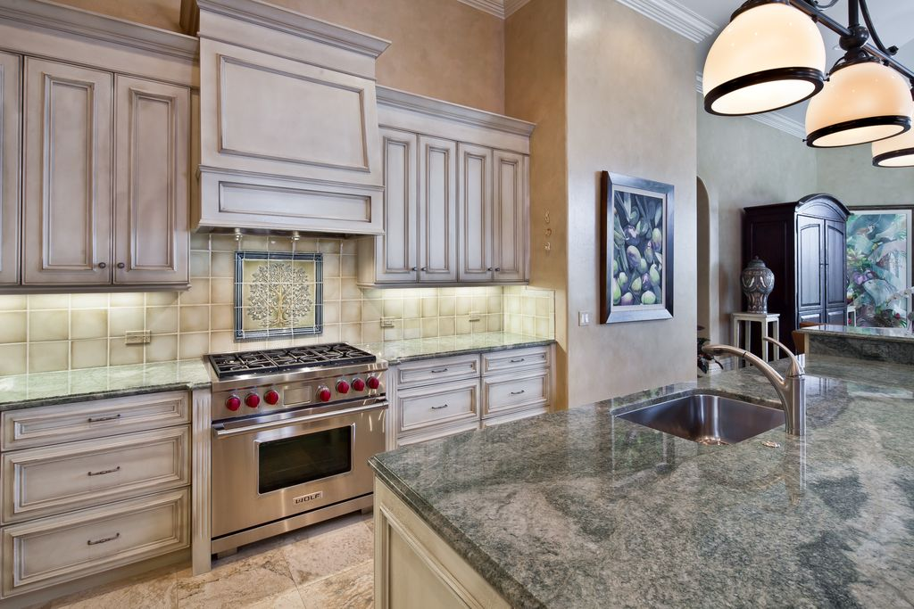 Traditional Kitchen with Flat panel cabinets, full backsplash, Large Ceramic Tile, One-wall, Fireclay Tile Foggy Morning