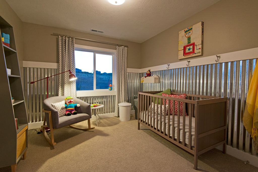Contemporary Kids Bedroom with Casement, Carpet, no bedroom feature, flush light, Chair rail, Standard height