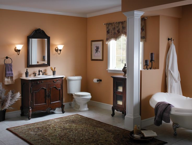 Traditional Master Bathroom with picture window, Glass panel, Bathtub, Columns, Paint 1, Inset cabinets, Crown molding