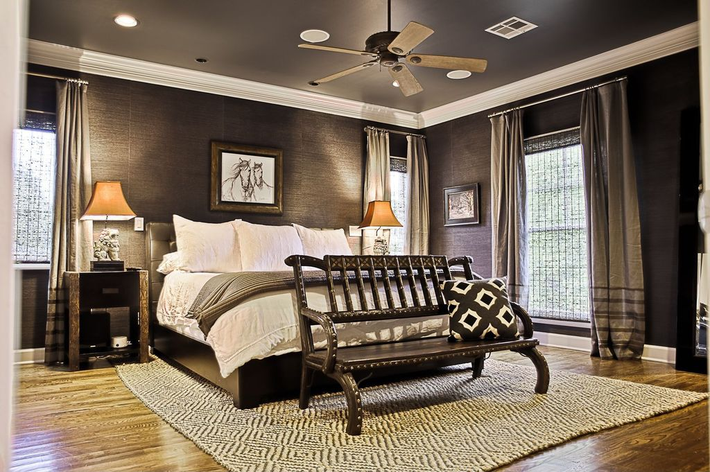 Contemporary Guest Bedroom with Hardwood floors, Carpet, Crown molding, Glass panel door, Ceiling fan