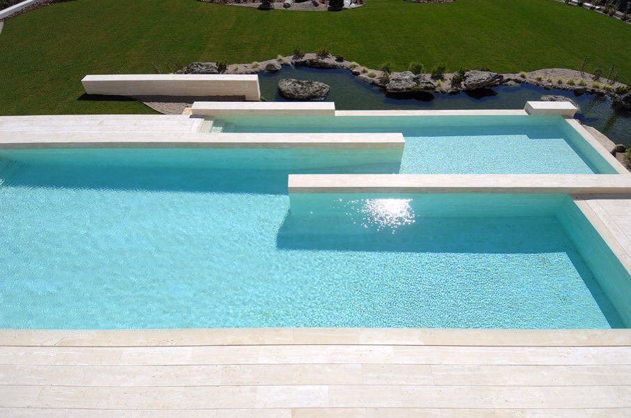 Contemporary Swimming Pool with exterior tile floors, exterior concrete tile floors, Other Pool Type