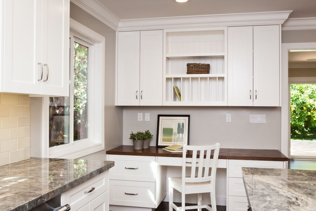 Traditional Home Office with Large Ceramic Tile, Inset cabinets, full backsplash, Simple granite counters, can lights