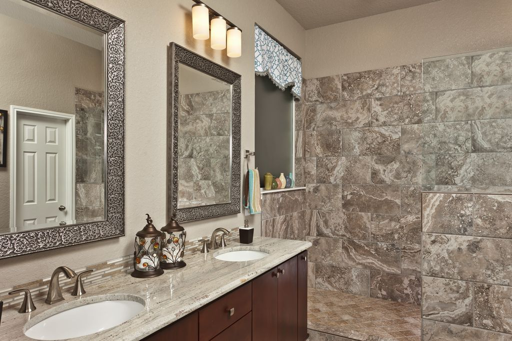Contemporary Master Bathroom with Flush, Shower, Double sink, European Cabinets, Master bathroom, Ceramic Tile, no showerdoor