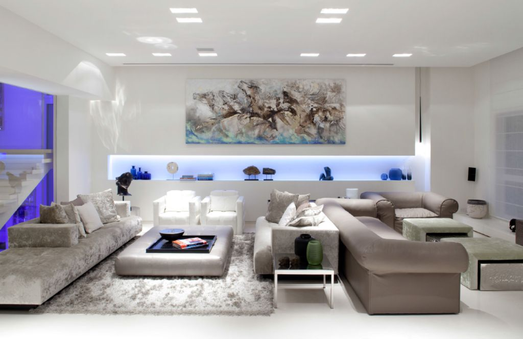 Contemporary Living Room with simple marble floors, picture window, Standard height, can lights, double-hung window