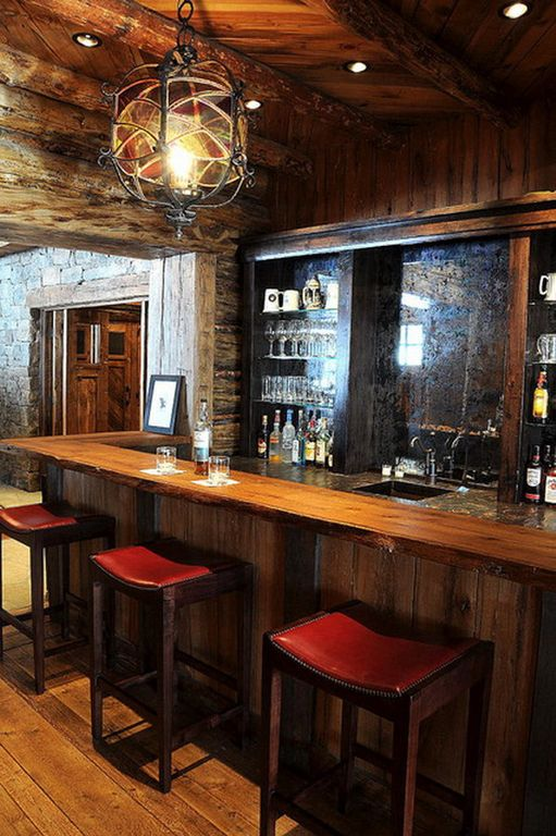 Rustic Bar with Exposed beam, Hardwood floors, Pendant light, can lights, Built-in bookshelf, Standard height