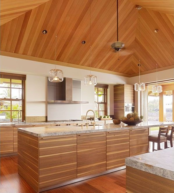 Contemporary Kitchen with full backsplash, High ceiling, European Cabinets, double-hung window, Kitchen island, Breakfast bar