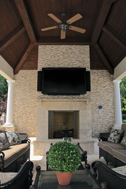 Modern Porch with Screened porch, exterior stone floors