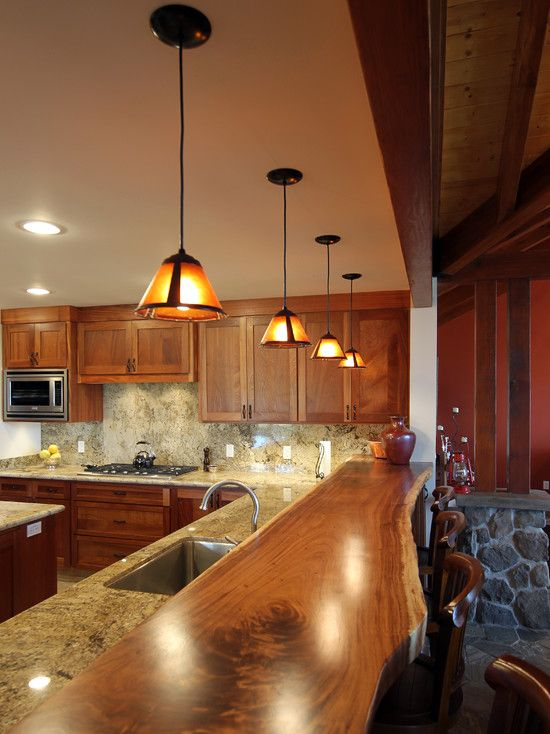Craftsman Kitchen with Complex Granite, electric cooktop, full backsplash, Undermount sink, built-in microwave, L-shaped