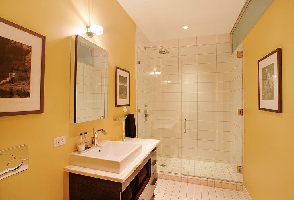 Modern 3/4 Bathroom with can lights, three quarter bath, wall-mounted above mirror bathroom light, Rain shower, Vessel sink