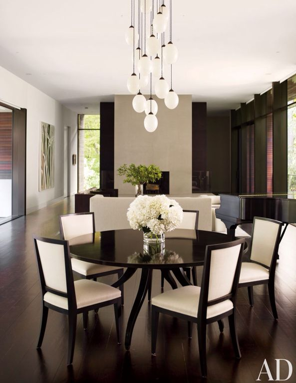 Modern Dining Room with picture window, Overstock 8-light edison bulb chandelier, Standard height, Chandelier, Paint, Paint 2