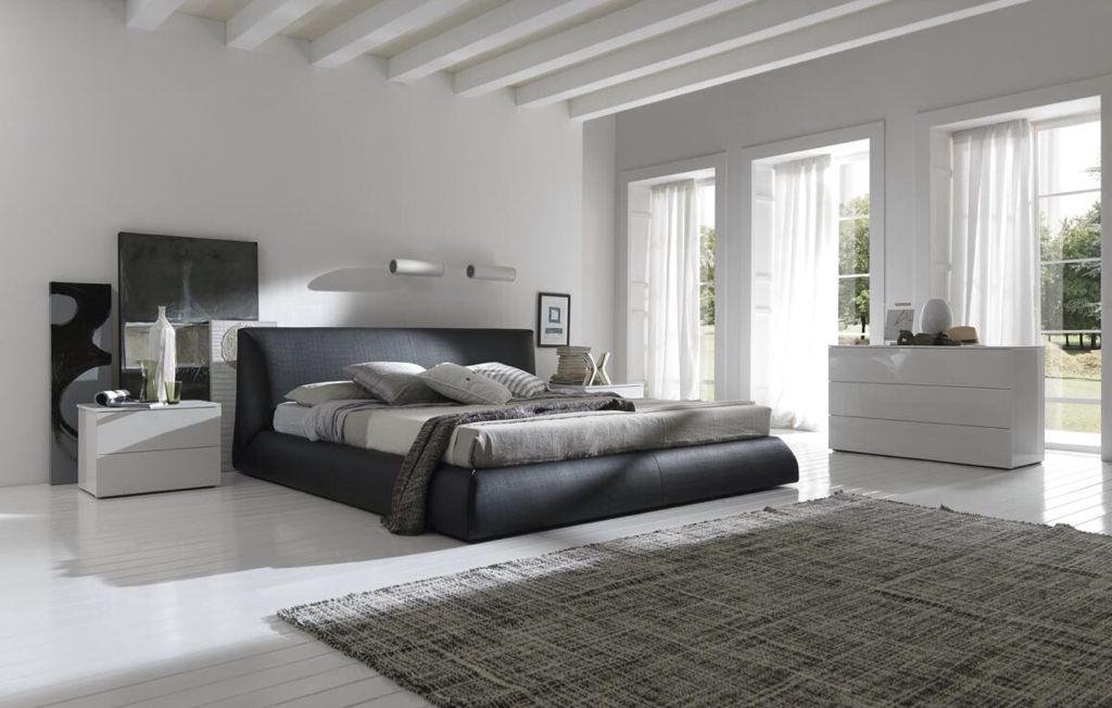 Contemporary Master Bedroom with bedroom reading light, picture window, Standard height, Exposed beam, Hardwood floors