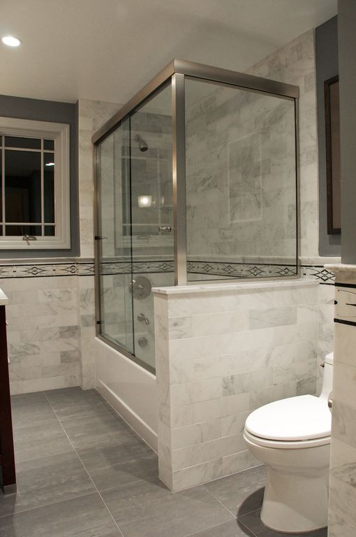 Contemporary Full Bathroom with shower bath combo, Wall Tiles, Full Bath, Shower, Casement, Standard height, can lights