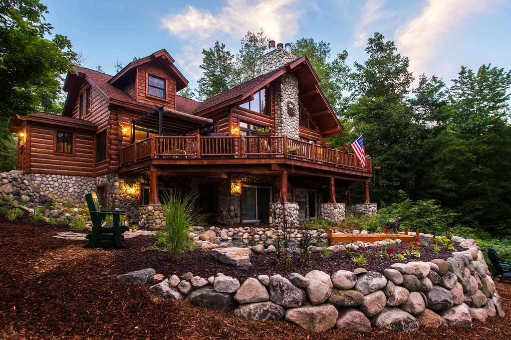 Partial stone exterior joy studio design gallery best for Log and stone homes