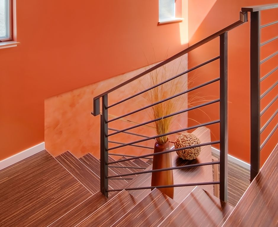 Contemporary Staircase with Laminate floors, picture window, Paint, Dolle - metal landing banister and railing, High ceiling