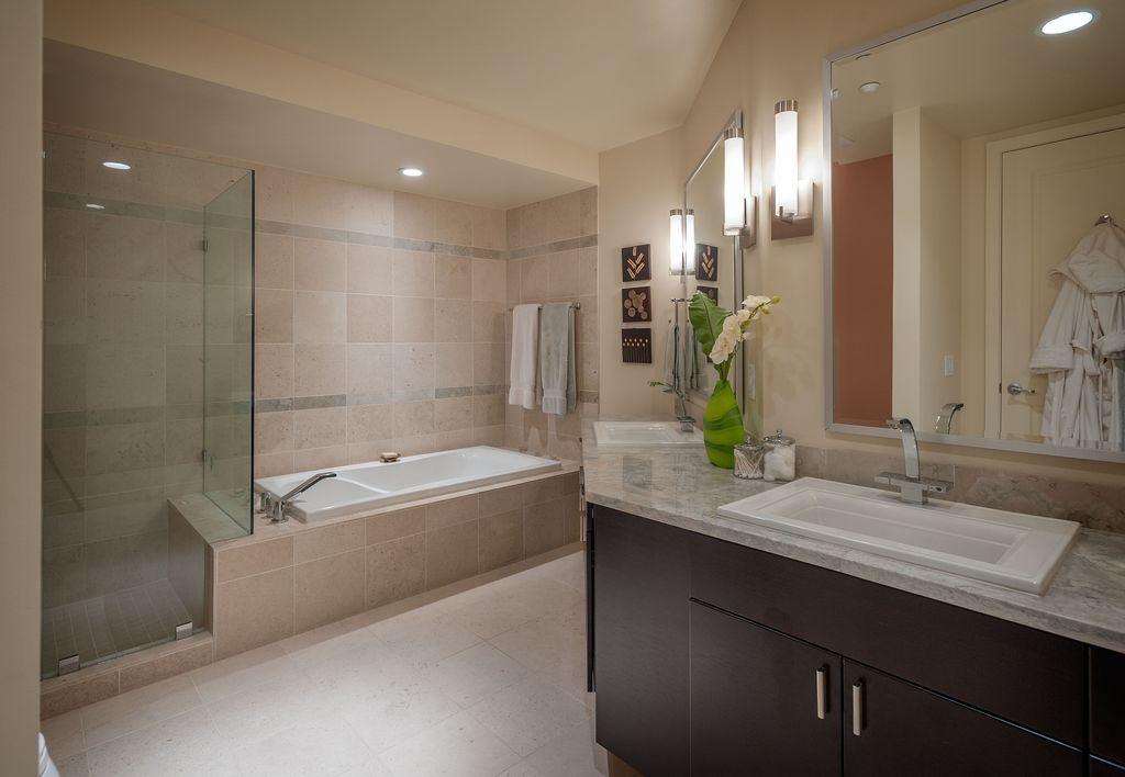 """Contemporary Master Bathroom with specialty door, Kohler white memoirs stately 17"""" drop in bathroom sink, Complex Marble"""