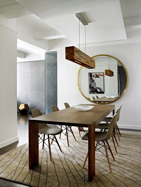 Modern Dining Room with World Market White Molded Evie Chairs Set of 2, Uttermost Junius Round Gold Round Mirror