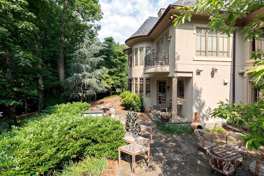 Traditional Patio with exterior stone floors, Pathway, French doors
