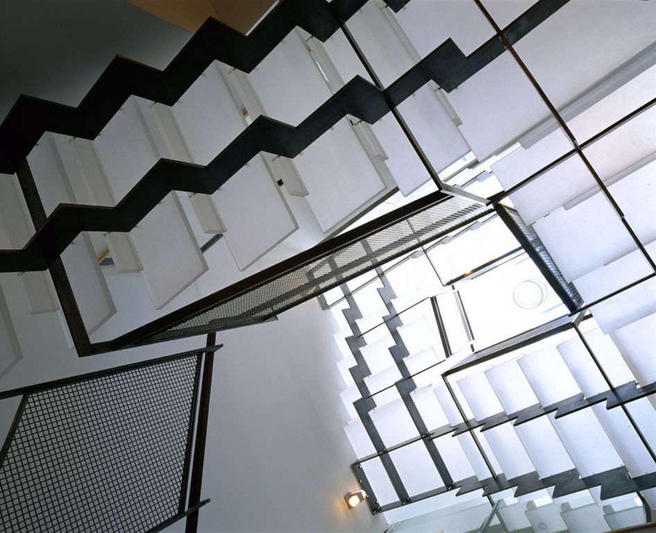 Contemporary Staircase with flush light, Wall sconce, Glass staircase, Cathedral ceiling