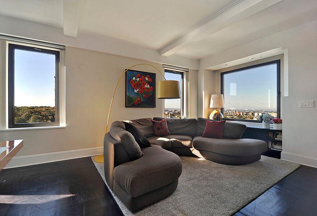 Contemporary Living Room with Casement, Hardwood floors, bedroom reading light, Standard height, Exposed beam