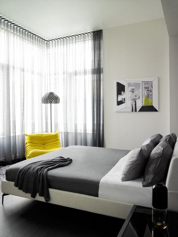 Contemporary Master Bedroom with Studio Stratus Upholstered Platform Bed - Cream, Paint 1, picture window, Hardwood floors