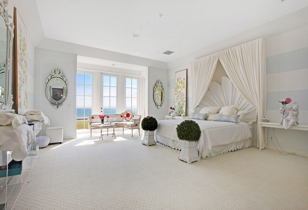 Contemporary Master Bedroom with Carpet, interior wallpaper, French doors, High ceiling