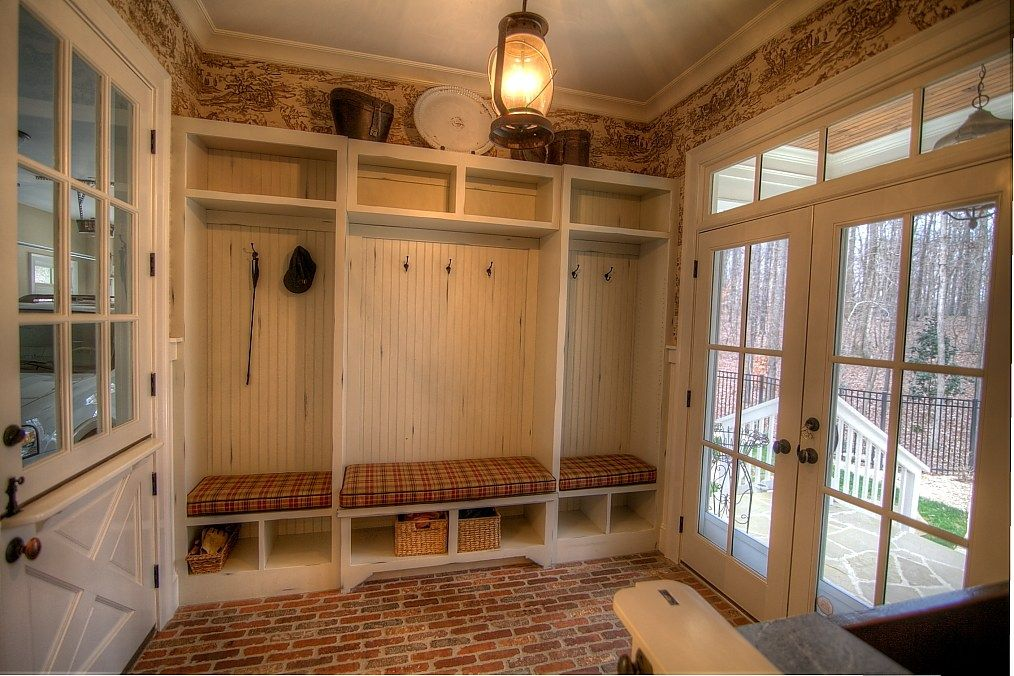 French country brick flooring great country mud room for Country home collections flooring