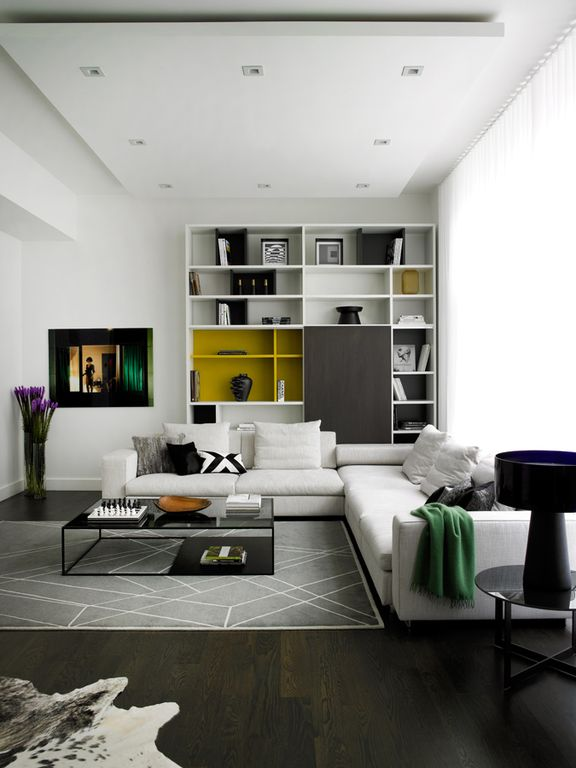 Contemporary Living Room with the L.A. collection, can lights, Paint 1, Standard height, Built-in bookshelf, Hardwood floors