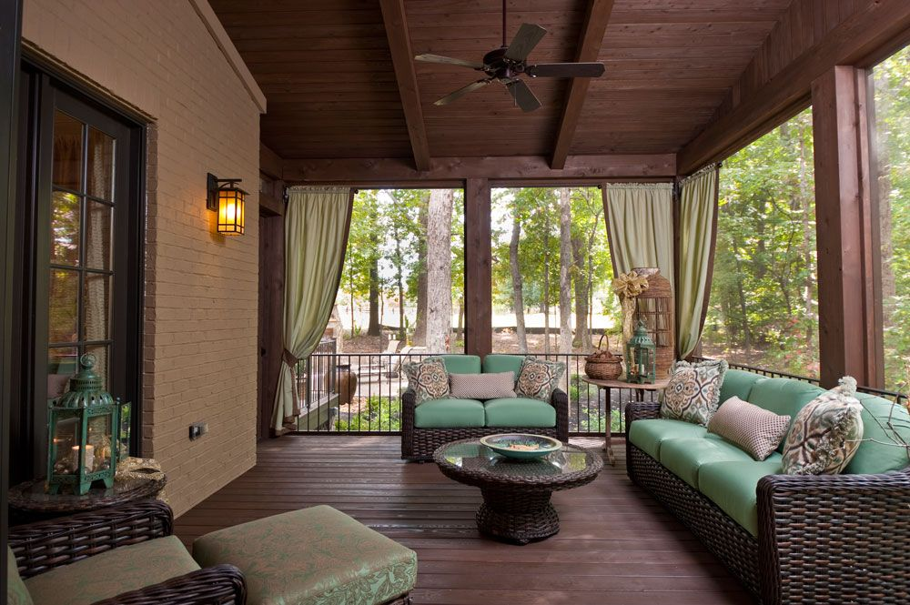 Craftsman Porch with Paint, French doors, Deck Railing, Wrap around porch, Screened porch