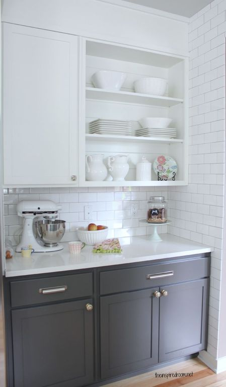Contemporary Kitchen with Standard height, full backsplash, Paint, Flat panel cabinets, Subway Tile, Inset cabinets, One-wall