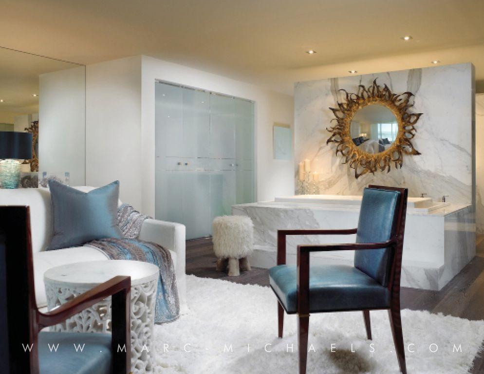 Contemporary Master Bathroom with Master bathroom, Standard height, can lights, frameless showerdoor, drop in bathtub, Shower