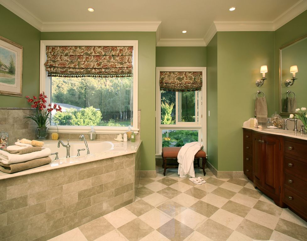 Traditional Master Bathroom with Roman shades, Undermount sink, Flat panel cabinets, picture window, Standard height, Paint