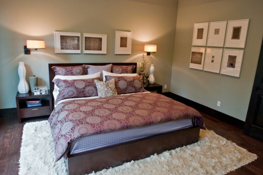 Modern Master Bedroom with Wall sconce, Standard height, Nuloom handmade soft plush shag rug from overstock.com