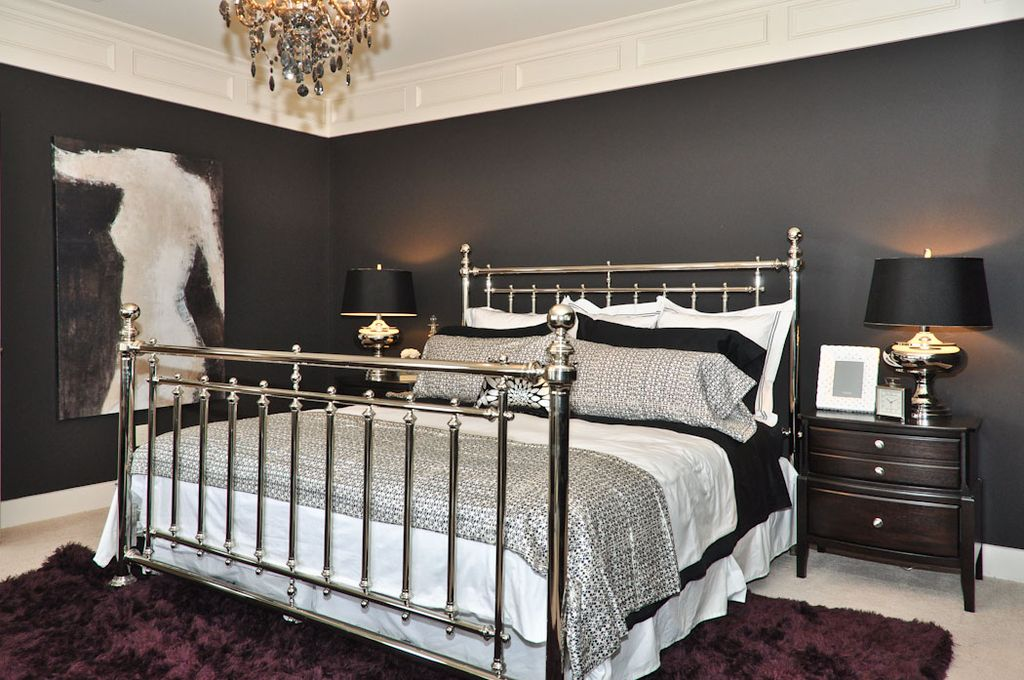 Traditional Master Bedroom with Chandelier, Carpet, Crown molding